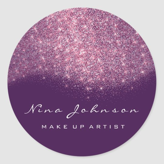Pink Purple Glitter Makeup Artist Beauty Classic Round Sticker