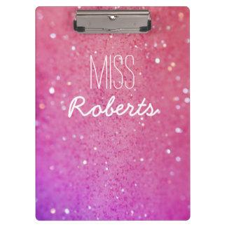 Pink Purple Glitter Teacher Clipboard
