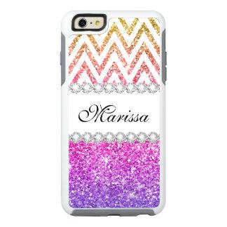 Pink Purple Gold Glitter White Chevron Pattern OtterBox iPhone 6/6s Plus Case