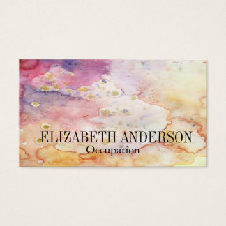Pink, Purple,& Gold Hand Painted Watercolor Effect Business Card