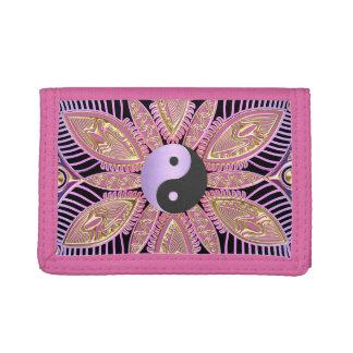 Pink Purple Gold Yin Yang Mandala Trifold Wallet