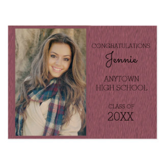 Pink / Purple Graduation Party Photo Invitation Postcard