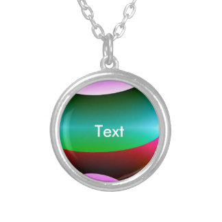 Pink Purple Green Abstract Round Pendant Necklace