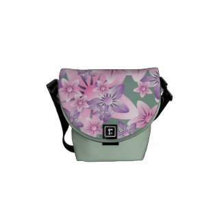 Pink Purple Green Floral Mini Messenger  Bag Courier Bags