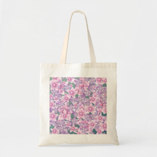 Pink Purple Green Flowers Budget Tote Budget Tote Bag