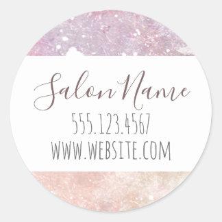 pink purple grunge salon granite marble classic round sticker