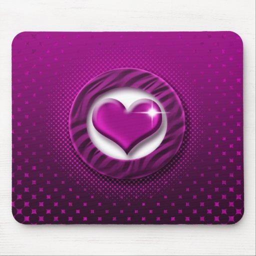 Pink & purple heart elegant mousepads