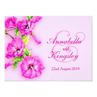 Pink purple hibiscus flower wedding invitation