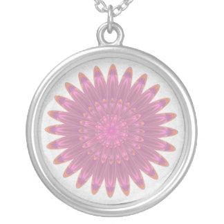 Pink & Purple Kaleidoscope Flower Round Pendant Necklace