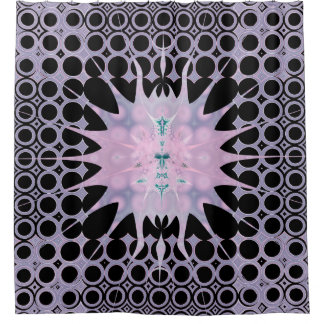 Pink Purple Lavender and Black Art Nouveau Sun Shower Curtain
