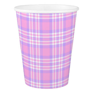 Pink Purple Lavender Plaid Gingham Check Girl Paper Cup