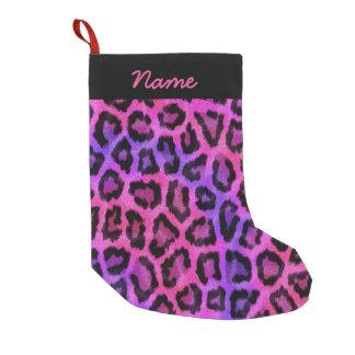 Pink & Purple Leopard Print Small Christmas Stocking