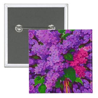 Pink & Purple Lilacs 15 Cm Square Badge
