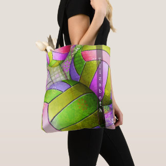 pink purple lime yellow volleyball tote w her name