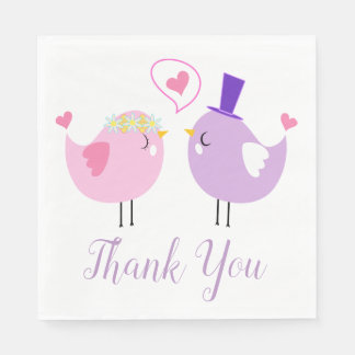 Pink & Purple Lovebirds Wedding Thank You Paper Napkin