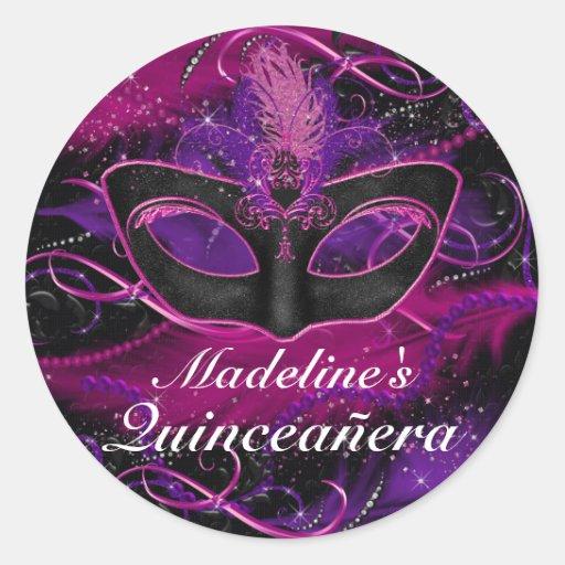 Pink & Purple Mask Masquerade Quinceanera Sticker
