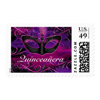 Pink & Purple Mask Quinceanera Masquerade Stamp