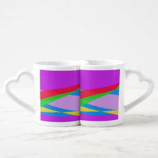 Pink Purple Minimalism Abstract Art Couple Mugs