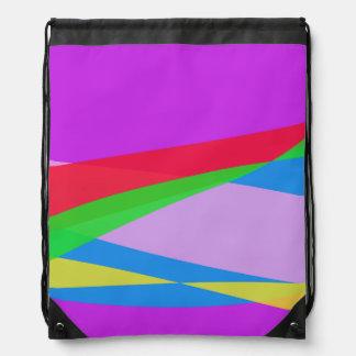Pink Purple Minimalism Abstract Art Drawstring Backpacks