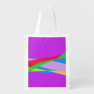 Pink Purple Minimalism Abstract Art Grocery Bag
