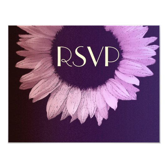 Pink Purple Modern Sunflower Wedding RSVP Large Card