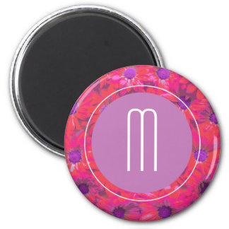 Pink, Purple, Orange Tropical Flowers Magnet