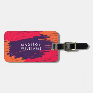 Pink Purple Orange Vibrant Modern Bold Strokes Luggage Tag