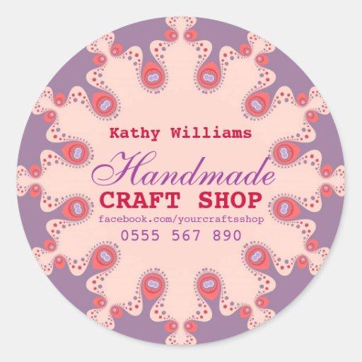 Pink Purple Pastel Crafts Product Label Sticker