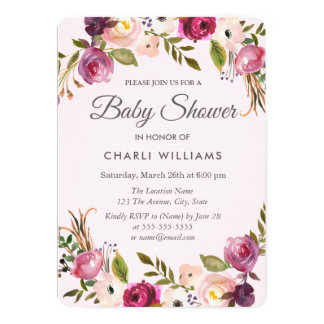 Pink Purple Peach Floral Girl Baby Shower invite
