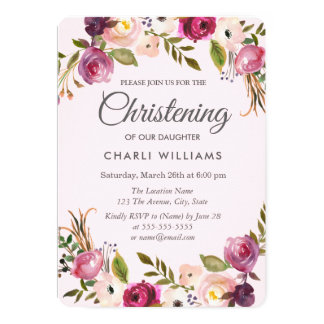 Pink Purple Peach Floral Girl Christening baptism Card
