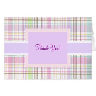 Pink Purple Plaid Thank You Card