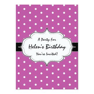 Pink Purple Polka Dots 30th Birthday Party 14 Cm X 19 Cm Invitation Card