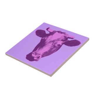 Pink & Purple Pop Art Cow Small Square Tile