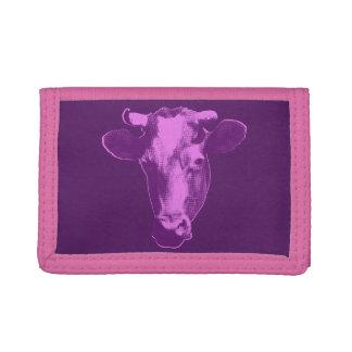 Pink & Purple Pop Art Cow Trifold Wallet