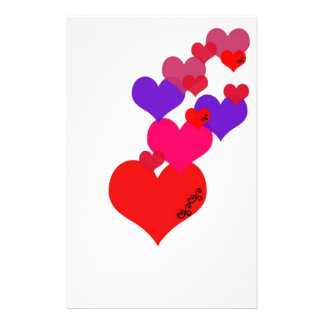 Pink,Purple,Red heart's with black scroll work Stationery Design