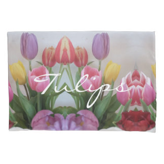 Pink Purple Red Tulip Flower Tulips Floral Pillowcase
