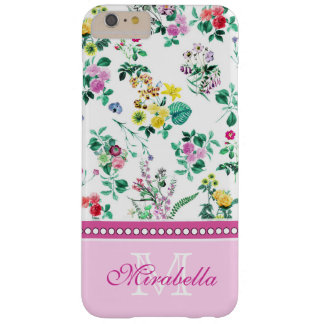 Pink purple red yellow wildflowers & roses, name barely there iPhone 6 plus case