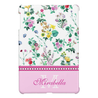 Pink purple red yellow wildflowers & roses, name case for the iPad mini