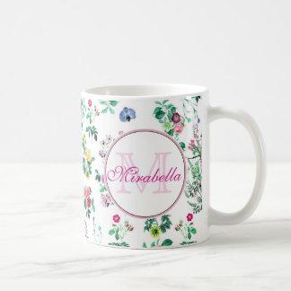 Pink purple red yellow wildflowers & roses, name coffee mug
