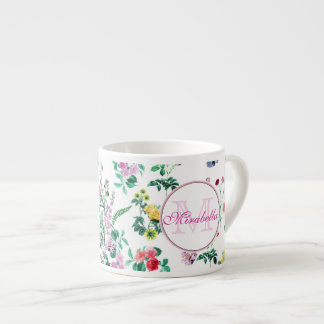 Pink purple red yellow wildflowers & roses, name espresso cup
