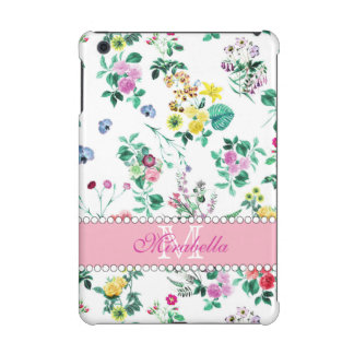 Pink purple red yellow wildflowers & roses, name iPad mini case