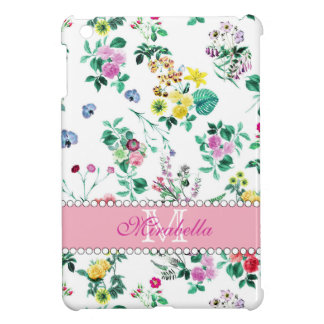 Pink purple red yellow wildflowers & roses, name iPad mini cover