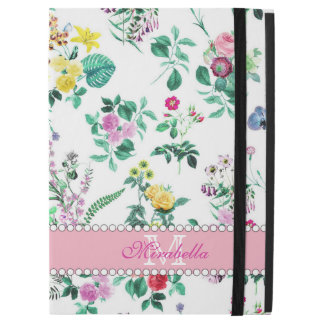 "Pink purple red yellow wildflowers & roses, name iPad pro 12.9"" case"