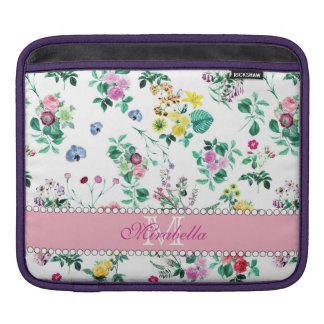 Pink purple red yellow wildflowers & roses, name iPad sleeve