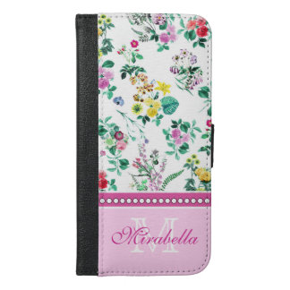 Pink purple red yellow wildflowers & roses, name iPhone 6/6s plus wallet case