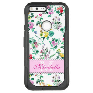 Pink purple red yellow wildflowers & roses, name OtterBox commuter google pixel XL case