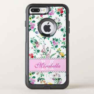 Pink purple red yellow wildflowers & roses, name OtterBox commuter iPhone 8 plus/7 plus case