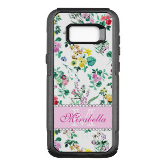 Pink purple red yellow wildflowers & roses, name OtterBox commuter samsung galaxy s8+ case