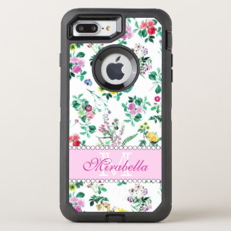 Pink purple red yellow wildflowers & roses, name OtterBox defender iPhone 8 plus/7 plus case