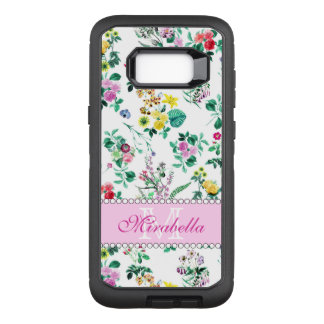 Pink purple red yellow wildflowers & roses, name OtterBox defender samsung galaxy s8+ case